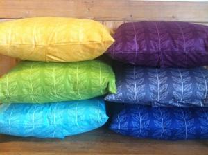 Leafy stripe cushions