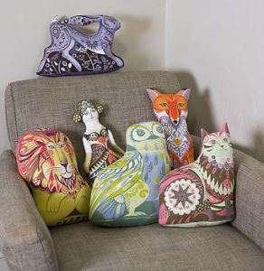 Sarah Young tea towel cushions