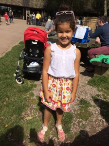 Taya's REd Rooster summer skirt